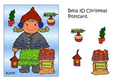 Karens Kravlenisser. Cut-outs and Colouring Pages. : Bella and Susie 3D Gnomes Christmas Postcards in Colours. Bella og Susie 3D nisse julekort i farver.