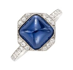 FD Gallery | An Art Deco Cabochon Sapphire and Diamond Ring, circa 1920
