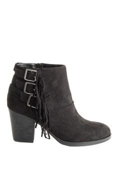 Black Fringe Buckle Booties - Sizes 5.5-10 ~ Monday/Tuesday Specials ~ * Clothing 20% off (excludes name brands) * Jude Connally Spring 40% off * Southern T's $10