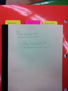 Research notebooks for argument writing