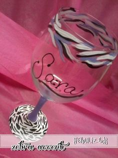 Custom hand painted multi color zebra wine glass design. Great gift! $10