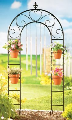 Metal Arch Bench Arbor With Two Lanterns Light Outdoor