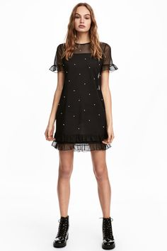 Check this out! Knee-length dress in airy mesh with beaded appliqués. Short sleeves with ruffle trim and a seam at hem with double ruffle trim. Jersey liner dress. - Visit hm.com to see more.