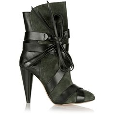 Isabel Marant Nova suede and glossed-leather boots ($520) ❤ liked on Polyvore featuring shoes, boots, green, heels, leather shoes, green shoes, isabel marant boots, leather high heel boots and round toe boots