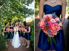 pink navy coral bouquet Kacie & Andrew | A Jepson Center Wedding » Carley Rehberg Photography