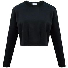 Cropped Sweater found on Polyvore featuring tops, sweaters, crop top, drop shoulder tops, neoprene crop top, black top and cropped sweater