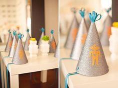 Orange and Yellow Robot Space Invader Baby Shower {babylifestyles}