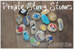 justfordaisy: Handmade Story Stones - A Pirate Party Gift Pirate Day, Pirate Birthday, Pirate Theme, Pirate Kids, Pirate Activities, Activities For Kids, Crafts For Kids, Arts And Crafts, Pirate Games
