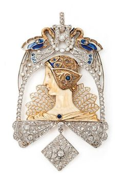An important gold, ivory, plique-a-jour enamel, diamond and sapphire pendant attributed to Lluis Masriera, Barcelona, circa 1910