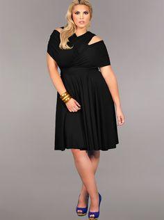 """Marilyn"" Short Convertible Dress- Black - Clothing - Monif C"