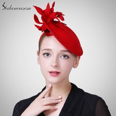 a5b941216aa9c Autumn and winter Female Hat Body British Style wool retro Fascinator hats  for Women Handmade Flower