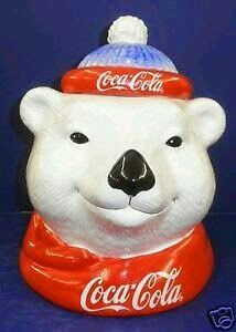 Up for sale is this fabulous Coke Cookie Jar by Enesco. This is a great jar. Enesco Coke Bear Head Cookie Jar - NIB Distributed by Enesco Corporation. The bottom of the jar says. Coca Cola Cake, Coca Cola Polar Bear, Coca Cola Pictures, Coca Cola Christmas, Christmas Stuff, Coca Cola Kitchen, Cocoa Cola, Always Coca Cola, World Of Coca Cola