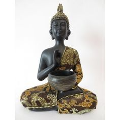 Thaise Boeddha met kom goud/zwart gekleurd