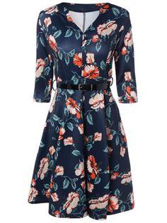 V-Neck 3/4 Sleeve Floral Print Dress