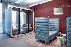 The Framery Q office pod is a perfect place for people to have meetings, brainstorming sessions and important one-on-one conversations in private without disturbing the whole office – or the office disturbing you. Office Pods, Co Working, Commercial Design, The Office, Multifunctional, Perfect Place, Arch, Design Inspiration, People