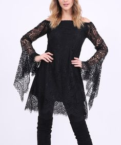 Take a look at this Black Lace Off-Shoulder Top - Plus Too today!