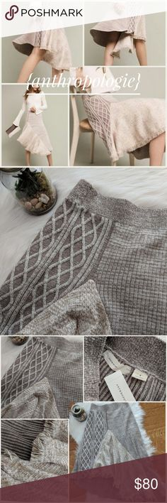 """🆕Sleeping On Snow Elene Knit Fringe Skirt Stunning Anthropologie skirt in a unique oatmeal gray color (labeled """"natural""""). This one of a kind skirt features multiple textures and weaves. With an asymetrical fringe hem and elastic waist. New with tags, never been worn.  Open to serious, reasonable offers. Anthropologie Skirts"""