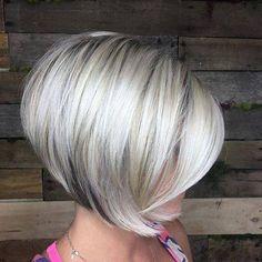 Short Blonde Haircuts, Inverted Bob Haircuts, Angled Bob Hairstyles, Blonde Hairstyles, 1940s Hairstyles, Haircut Short, Wedding Hairstyles, Wedding Updo, Medium Stacked Haircuts