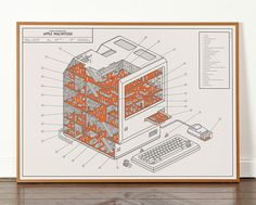 the cutaway poster imagines, through apple and pop culture references, the internal occurrences of the classic macintosh design.