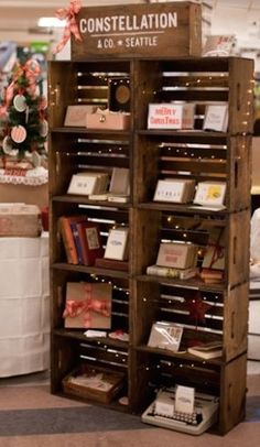 Store displays ideas make your happy selling shorewest's diy project: crate bookshelf crate bookshelf, wooden box shelves, wooden boxes, Wooden Box Shelves, Crate Bookshelf, Wooden Crates, Glass Shelves, Wooden Boxes, Regal Display, Wood Display, Pallet Display, Display Case