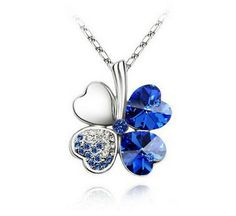 Fashion Womens Heart Blue Crystal Rhinestone Silver Chain Pendant Necklace - https://barskydiamonds.com/necklaces/