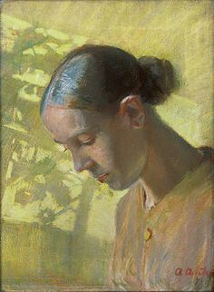 - Anna Ancher, Head of the sewing maiden, Ane, private collection. Anna Ancher August 1859 – 15 April was a Danish artist associated with the Skagen Painters, an artists' colony in the very north of Jutland. Art Painting, Figure Painting, Painting, Female Art, Illustration Art, Museum Of Modern Art, Portrait Painting, Scandinavian Art, Figurative Art