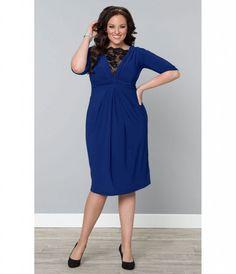 Büyük beden kobalt mavisi güpürlü kokteyl elbisesi