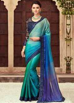 Buy saree online from among a variety of latest designer saree. Order this appealing border work silk designer saree. Lehenga Style Saree, Blue Saree, Lehenga Choli, Sabyasachi, Net Saree, Saree Dress, Designer Saree Blouses, Latest Designer Sarees, Chiffon Saree