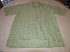 Thomas Pink Mens green plaid linen short sleeve button up shirt L EUC @ #ThomasPink #ButtonFront