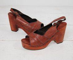 vintage 1970s platform / 1970s qualicraft sandals / by cutxpaste