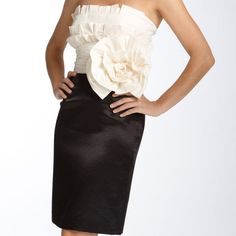 PRICE⬇️! Max&Cleo Rose Cocktail Dress An oversized rose appliqué enhances the architectural aesthetic of a strapless dress with a crisply pleated bodice. Lustrous pencil skirt-like bottom provides perfect visual balance. Like new condition! Only worn once! Max & Cleo Dresses