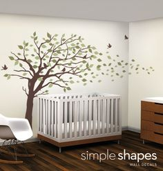 Vinyl Wall Art Decal Sticker - Blowing Leaves Tree - LARGE | SimpleShapes - Furnishings on ArtFire