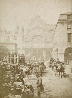 Covent Garden Market by Blanchard, Valentine. 1860 - Museum of London Victorian Life, Victorian London, Vintage London, Old London, London City, London Free, Vintage Pictures, Old Pictures, Old Photos