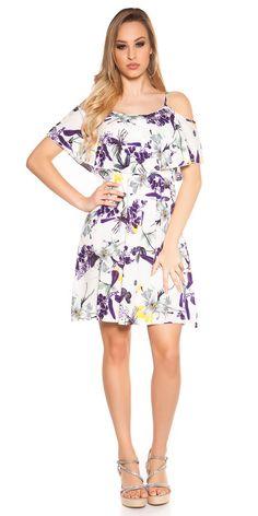 Dámské letní šaty na ramínka. Doplněno volánem.  Barva: slonová kost  Materiál: 100% viskoza Cold Shoulder Dress, Casual, Dresses, Fashion, Vestidos, Moda, Fashion Styles, The Dress, Fasion