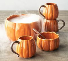 Pumpkin Snack Bowl, Set of 4 - Shaped and glazed stoneware in seasonal colors makes a fall table setting all the more festive. Each of the pieces in the Rustic Pumpkin Collection is finished by hand and designed to mix and match. Fall Home Decor, Autumn Home, Autumn Fall, Thanksgiving Decorations, Halloween Decorations, Autumn Decorations, House Decorations, Thanksgiving Table, Fall Table Settings