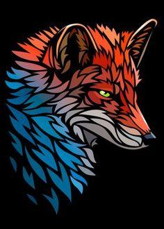 Cool Car Drawings, Art Drawings, Animal Paintings, Animal Drawings, Tribal Fox, Fuchs Tattoo, Fox Art, Arte Pop, Diy Canvas Art