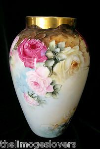 Stunning 1800's Colorful Roses Heavy Gold Limoges Vase | eBay