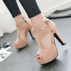 Women's Shoes Heel Heels / Peep Toe / Platform Sandals / Heels Outdoor / Dress / Casual Black / Red / Almond 4920294 2016 – $34.99