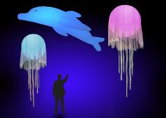 large Glow in the dark balloons ( or led lite inside) hung with gossamer,  and gossamer tendrils anchored to floor or railing     Jellyfish Event Decor, Giant Sea Creatures, Under The Sea Props, Rent a Jellyfish, High Ceiling Decor and lots more...