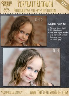 """CoffeeShop """"Portrait Retouch"""" Step-By-Step Tutorial for Photoshop/PSE: Part Two!"""