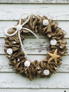 Beach Burlap Wreath with Bow by ValsShabbyShack on Etsy