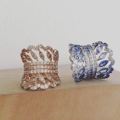 Two new babies  our factory just finished these two shaded ring. Blue sapphires…