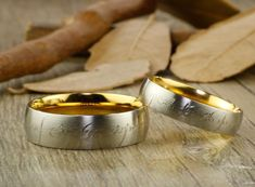 Handmade Gold Dome shape Custom Your words in Elvish Tengwar, Lord of the Rings, Matching Wedding Bands, Couple Rings Set, Titanium Anniversary Rings Set Matching Wedding Rings, Wedding Matches, Wedding Ring Bands, Lord Of The Rings, Rings For Men, Elvish Wedding, Ring Set, Titanium Rings, Couple Rings