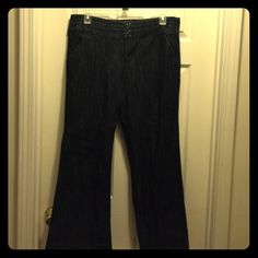 Maurices 15/16 dark finish denim trouser Versatile Maurices size 15/16r dark wash denim trouser. Lying flat measures 19 inches across waist with a 31 inch inseam. Maurices Jeans