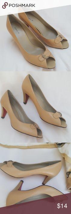 "Studio 36 pic a boo toe nude pumps Lovely open toe pumps 3"" heels studio 36 Shoes Heels"
