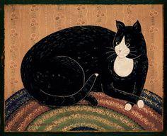 ~ The Cat's Pyjamas ~ Warren Kimble Paintings I Love, Cat Paintings, Children's Book Illustration, Book Illustrations, Primitive Folk Art, Types Of Art, Painted Signs, Crazy Cats, Cat Art