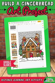 Need easy, NO PREP gingerbread art projects for kids for both in-person & distance learning? Build a gingerbread house using festive holiday graphics! Teach Google Slides using basic computer skills. Digital template includes 200 moveable pieces of houses, icing, candy, Christmas trees, wreaths, etc. Use this activity to discuss overlapping. Incorporate literacy into your lessons with the included writing prompts! Perfect for 3rd grade - 5th grade elementary students. | Glitter Meets Glue