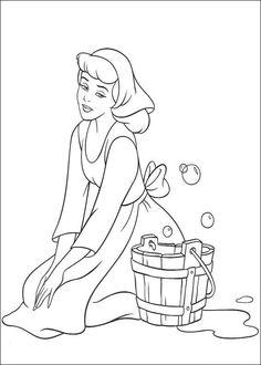 kleurplaat Assepoester - Assepoester boent de vloer