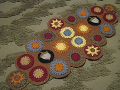 Primitive Fall/Autumn Sunflowers Acorns Scalloped Edges Penny Rug Candle Mat…