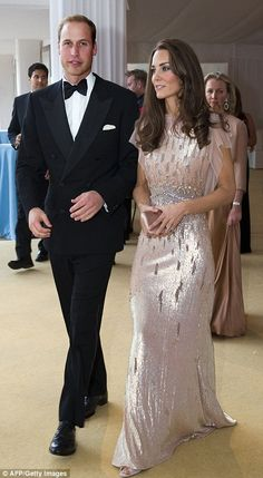 Kate Middleton recycles a Jenny Packham gown at charity gala in Norfolk | Daily Mail Online